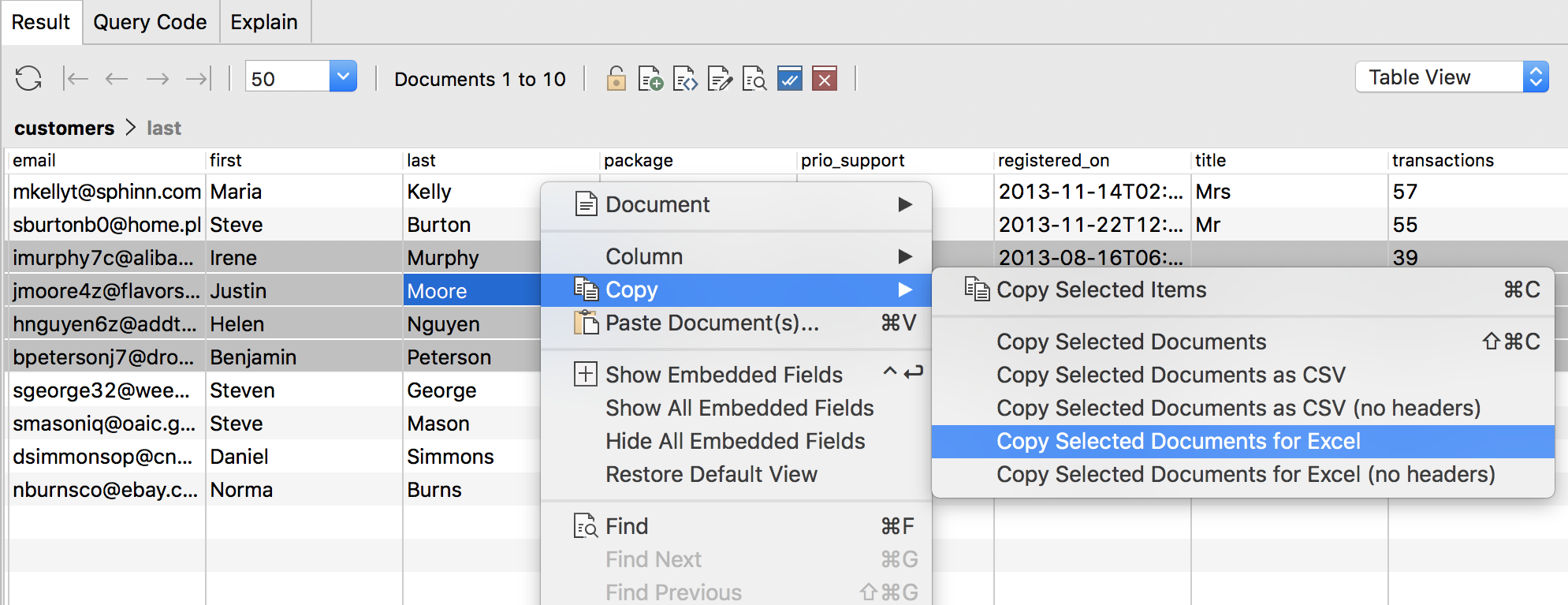 Copy and paste MongoDB query results to Excel